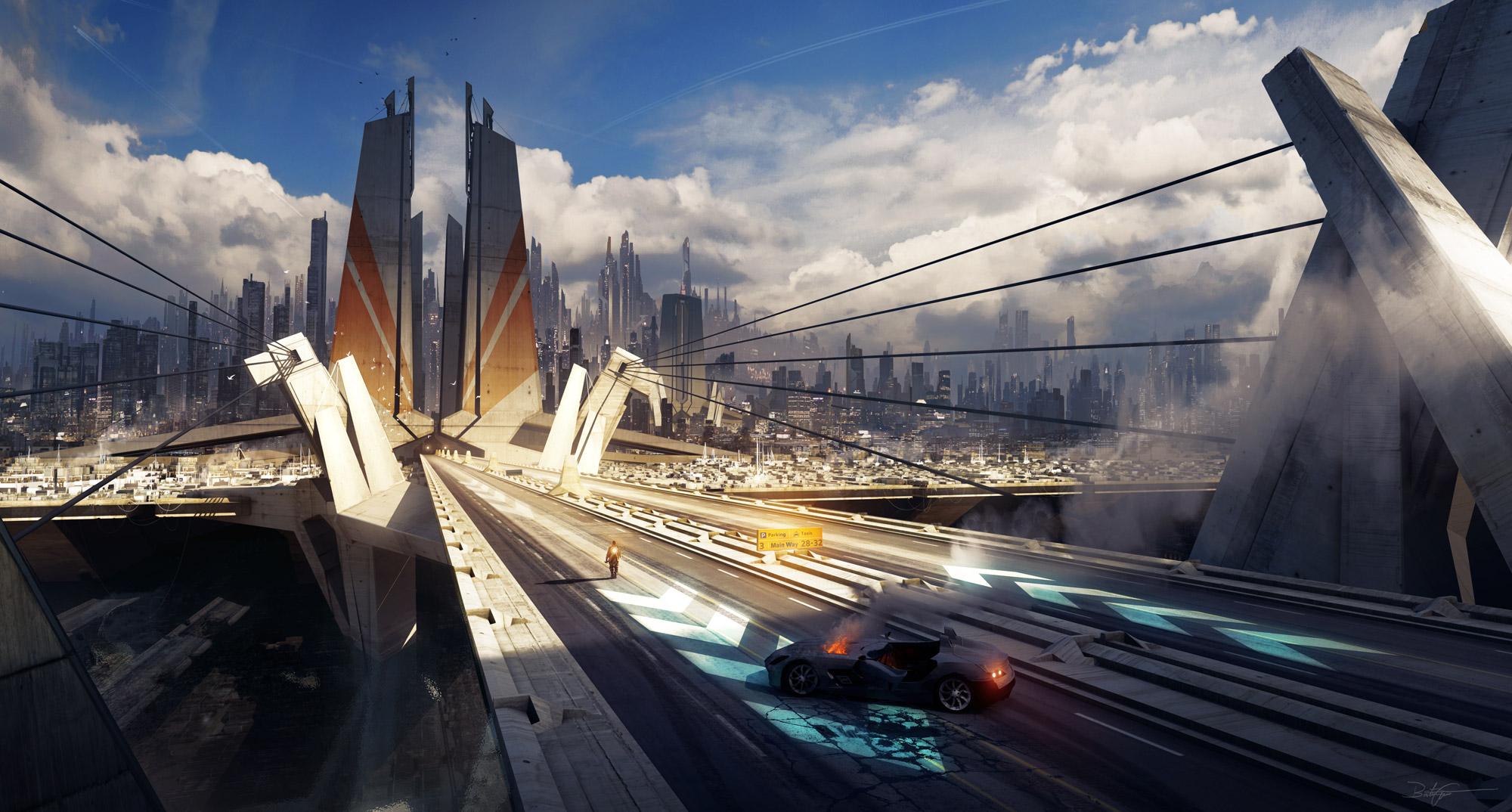 The sci fi art of bastien grivet bastien grivet artist - Fantasy wallpaper bridge ...