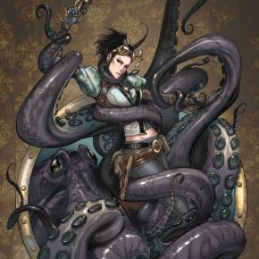 lady-mechanika-octopus-attack-by-joebenitez
