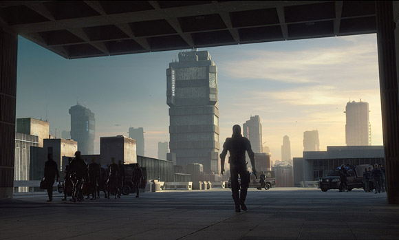 Our first glimpse of Mega City - Dredd 2012